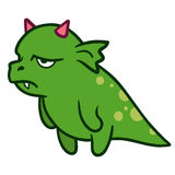 Cute cartoon angry tired dragon monster Stock Photography