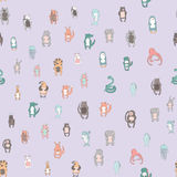 Cute cartoon animal characters. Seamless pattern, vector illustration in simple style. Royalty Free Stock Photos