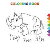 Cute cartoon animal coloring book for kids. black and white vector illustration for coloring book. animal concept hand drawn