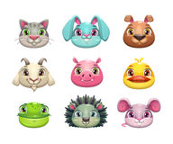 Cute cartoon animal face icons set Royalty Free Stock Photo