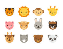 Cute cartoon animal faces. Set of cute cartoon animal heads, domestic and wild animals. Flat vector icons Royalty Free Stock Image