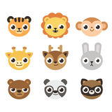 Cute cartoon animal faces. Set of 9 cute cartoon zoo animal heads with different expressioons Royalty Free Stock Photo