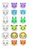 Cute cartoon animal faces. Vector icons set Royalty Free Stock Photography