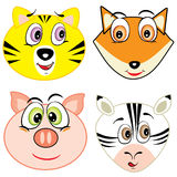 Cute cartoon animal head icons Stock Images
