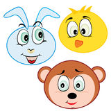 Cute cartoon animal head icons Royalty Free Stock Image