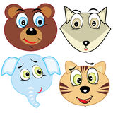 Cute cartoon animal head icons Stock Photos