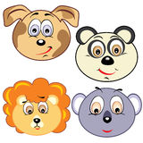 Cute cartoon animal head icons Royalty Free Stock Images