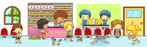 Cute cartoon animal hospital interior scene with owners bringing Stock Photography