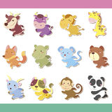 Cute cartoon animal icon set Stock Images