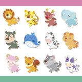 Cute cartoon animal icon set. Vector stock illustration