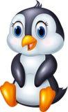Cute cartoon animal penguin sitting isolated on white background Royalty Free Stock Images