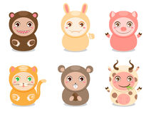 Cute cartoon animals. Set of six cute animals on a white background Stock Photo