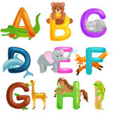 Cute cartoon animals alphabet for children education. Vector illustrations Royalty Free Stock Image