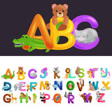 Cute cartoon animals alphabet for children education. Vector illustrations Royalty Free Stock Photography