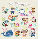 Cute cartoon animals. Alphabet from N to Z Royalty Free Stock Photos