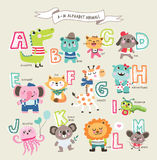 Cute cartoon animals. Alphabet from A to M royalty free illustration