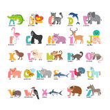 Cute cartoon animals alphabet from A to Z Royalty Free Stock Images