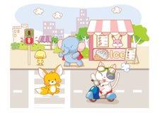 Cute cartoon animals in the city Stock Photos