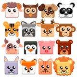 Cute cartoon animals head squar shape. Bear, cat, dog, pig, rabbit, cow, deer, lion, sheep, tiger, owl, panda, raccoon, monkey, pe Stock Photo