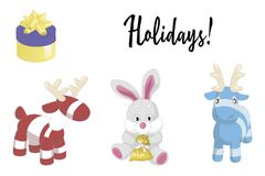 Cute cartoon animals isolated on white background. Vector illustration of adorable plush holiday animals Stock Photography