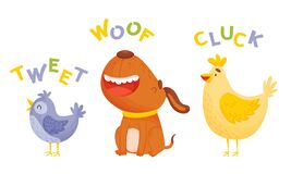 Free Cute Cartoon Animals Making Sounds Vector Illustrations Set Stock Images - 180088684