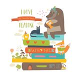 Cute cartoon animals reading books. Vector collection Stock Photography