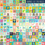 Cute cartoon animals set 190 pieces,  illustration, hand drawn Royalty Free Stock Photos