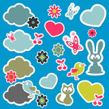 Cute cartoon animals stickers Royalty Free Stock Images