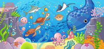 Cute cartoon animals underwater. Vector illustration on a sea theme. stock illustration