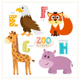 Cute cartoon animals. Zoo alphabet with funny animals. E, f, g,. H letters. Vector illustration royalty free illustration