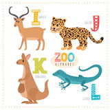 Cute cartoon animals. Zoo alphabet with funny animals. I, j, k,. L letters. Vector illustration Vector Illustration