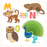 Cute cartoon animals. Zoo alphabet with funny animals. M, n, o, Stock Images