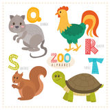 Cute cartoon animals. Zoo alphabet with funny animals. Q, r, s,. T letters. Vector illustration Stock Photos