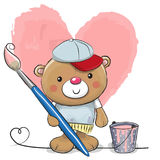 Cute Cartoon Artist Teddy Bear. Cute Teddy Bear with brush is drawing a heart Royalty Free Stock Image