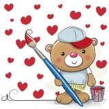 Cute Cartoon Artist Teddy Bear. Cute Teddy Bear with brush is drawing a hearts Stock Photography