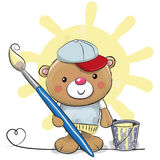 Cute Cartoon Artist Teddy Bear. Cute Teddy Bear with brush is drawing a sun Stock Photo