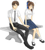 Cute cartoon Asian Thai college student and high schoolgirl coup Royalty Free Stock Photo