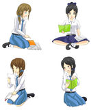 Cute cartoon Asian Thai schoolgirl students in school uniform icon vector Royalty Free Stock Photo