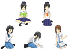 Cute cartoon Asian Thai schoolgirl students in school uniform icon vector Royalty Free Stock Photography