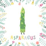 Cute cartoon asparagus illustration with flowers & lettering. Royalty Free Illustration