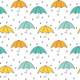Cute cartoon autumn seamless vector pattern background illustration with umbrellas and rain. Cute cartoon autumn seamless pattern background illustration with stock illustration