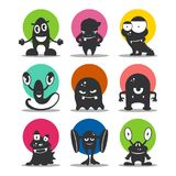 Cute cartoon avatars and icons. Black monsters set. Collection of funny aliens. Vector illustration Stock Images