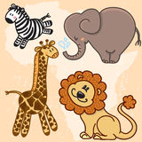 Cute cartoon Baby African Animals. Vector set Stock Photo