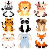 Cute cartoon baby animals. Dog, cow, lion, sheep, tiger, panda, fox, zebra, elephant Royalty Free Stock Photo