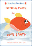 Cute cartoon baby birthday invitation card with sea waves and flame fish. Vector illustration for prints, flyers Stock Photo