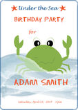 Cute cartoon baby birthday invitation card with sea waves and greenery crab. Vector illustration for prints, flyers Royalty Free Stock Photo