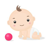 Cute Cartoon Baby Boy Crawling. Stock Images