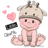 Cute Cartoon Baby boy in a Giraffe hat Royalty Free Stock Image