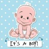 Cute cartoon baby boy Royalty Free Stock Images
