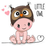 Cute Cartoon Baby boy in a Owl hat Royalty Free Stock Image